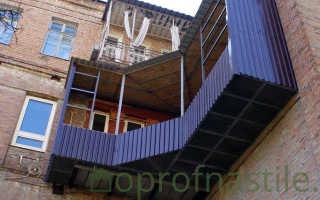 Отделка балкона снаружи профнастилом