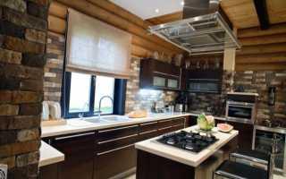 Кухня в частном деревянном доме дизайн фото