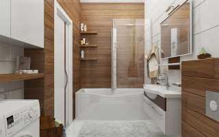 Ванная с деревянной плиткой